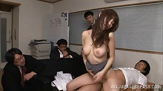 Sassy Asian chick is being gangbanged with several sex-starved dudes