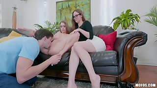 Big ass mom helps daughter with this generous penis