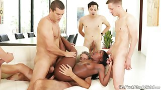 Slutty black girl Noemie Bilas fucked by a slew of white dudes