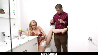 Dude helps his stepmom shave her pussy and then he fucks her