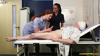 Desirable nurses Angelina Elise and Zara Du Rose please their patient