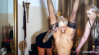 Two Lesbian Mistresses Dominate Girl and Lick her Pussy, German