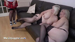 Young girl with a fat ass fucks two mature busty dykes