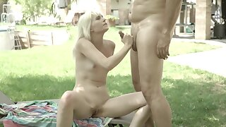 Girl welcomes three time older man's cock inside shaved pussy