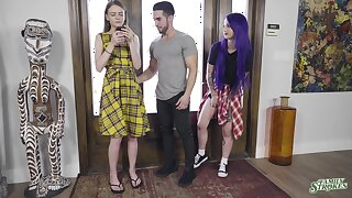 Pretty girls Val Steele and Jessae Rosae get down and dirty with a stud