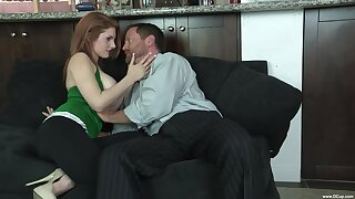 Redhead soaks her giant tits in sperm after fucking step daddy