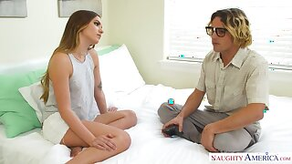 19 yo geek loses his virginity with spoiled stepsister Summer Brooks
