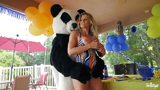 Energized mom sure loves fucking with the young dude in Panda costume