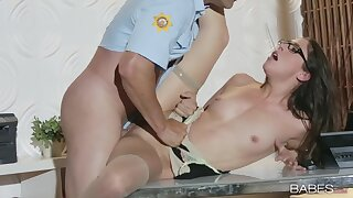 Nerdy gal gets a lot of dick to torn her pussy apart
