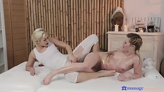 Erotic massage leads these babes to intense scissoring