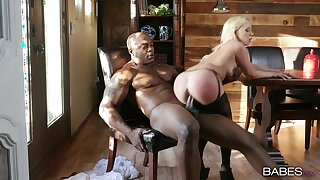 Blonde in sexy lingerie, hard black porn in her tiny holes