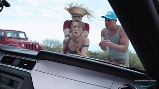 Country girl Alexis Crystal gets well fucked by two men