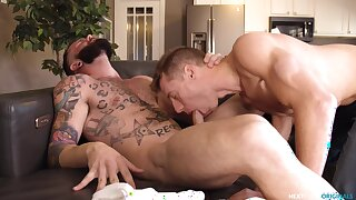 Bareback hard anal sex for two gay lads