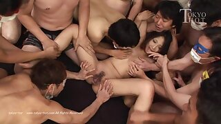 Japanese gangbang with hairy pussy gets orgasms - young Asian babe with perky tits