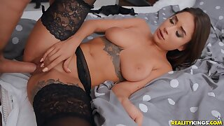 Unwinding After Work Charlie Dean and young tattooed Russian brunette Liya Silver