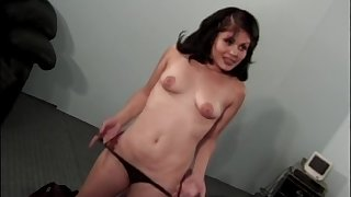 Latina brunette Humdinger Mase swallows cum after a doggy style fuck