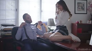 Lewd college chick Danni Rivers is having crazy sex fun with will not hear of teacher