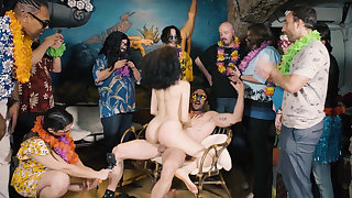 Cheerful BDSM orgy party